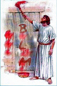 image of a biblical dude painting BLM on his front door